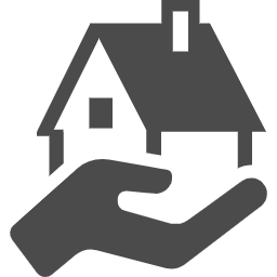 House with hand free icon